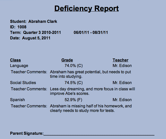 deficiency-report