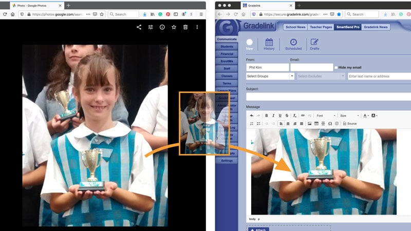 Drag and Drop Images into SmartSend school email